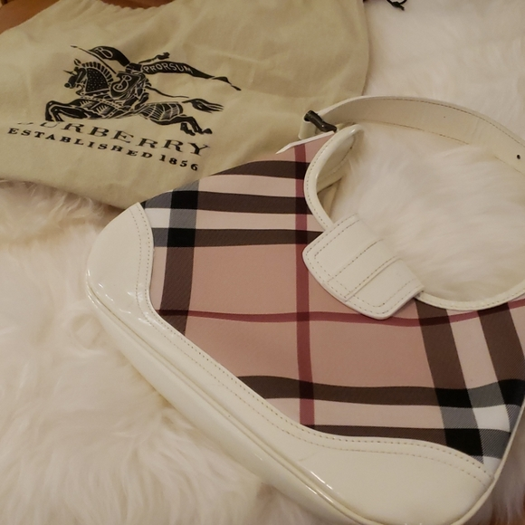 Burberry Brooke Hobo White Patent Leather Bag